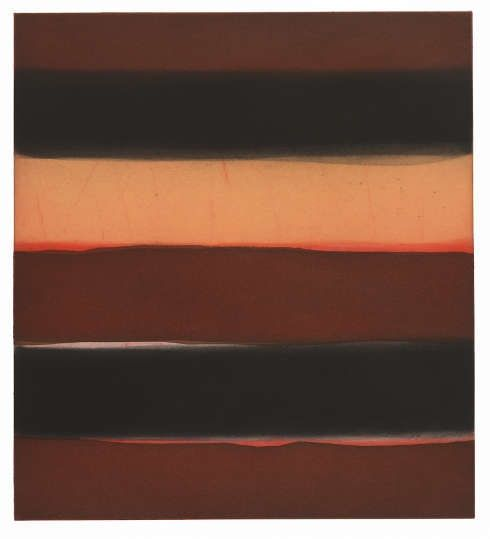 Sean Scully, Orange, 2018, Aquatinta, Zuckeraussprengverfahren und Pinsel/Papier, 76.2 × 63.5 cm (Privatsammlung (SS3280) © Sean Scully. Foto: courtesy the artist)