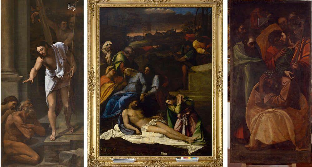 Sebastiano del Piombo, Abstieg in die Vorhölle, 1516, Öl auf Leinwand, 226 × 114 cm (© Museo Nacional del Prado, Madrid (P00346) - Beweinung Christi (Pietà), um 1512–1516, Öl auf Pappel, 248 × 190 cm (Museo Civico, Viterbo © Comune di Viterbo) - Ribalta (Kopie nach Sebastiano)