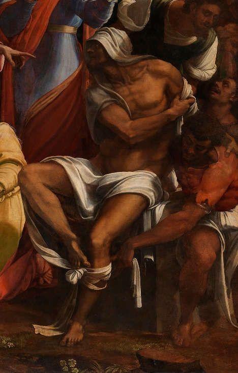 Sebastiano del Piombo, mit Entwürfen von Michelangelo, Die Erweckung des Lazarus, Lazarus, 1517–1519 (© The National Gallery, London, NG1)