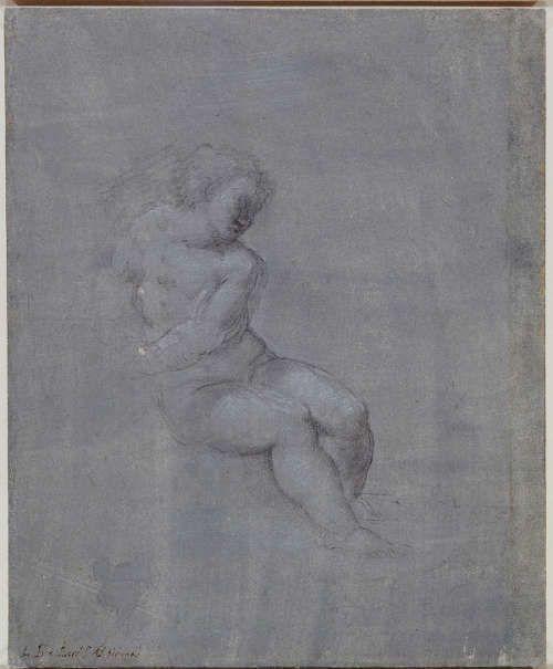 Sebastiano del Piombo, Christus als Kind (verso), um 1530, schwarze Kreide auf blau-grauem Papier; 26.7 x 21.9 cm (Royal Collection Trust / © Her Majesty Queen Elizabeth II 2017 (RCIN 904813)