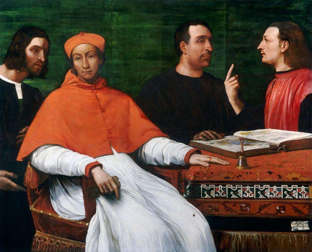 Sebastiano del Piombo, Kardinal Bandinello Sauli, sein Sekretär und zwei Geografen, 1516, Öl auf Holz, 121.8 x 150.4 cm (153.7 x 181.6 x 10.2 cm gerahmt) (Washington, National Gallery of Art, Samuel H. Kress Collection, 1961.9.37)