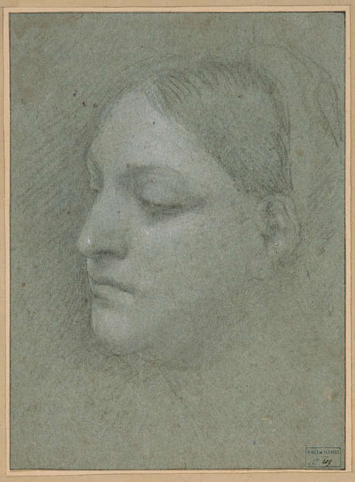 Sebastiano del Piombo, Kopf einer Frau (recto), um 1517/18, schwarze Kreide und weiße Gouache auf blauem Papier, 23.2 x 17.7 cm (© Musée du Mont-de-Piété, Bergues (2011.0.209.209)