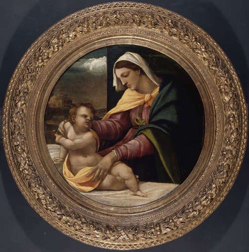 Sebastiano del Piombo, Madonna und Kind, um 1517, Öl auf Pappel, 68.5 cm dm (The Syndics of the Fitzwilliam Museum, University of Cambridge. Acquired with grants from the National Lottery through the Heritage Lottery Fund and the Art Fund with contributions from the Friends of the Fitzwilliam Museum, the Gow, Percival and University Purchase funds and the Perrins Bequest (PD.55-1997) © Fitzwilliam Museum, Cambridge)