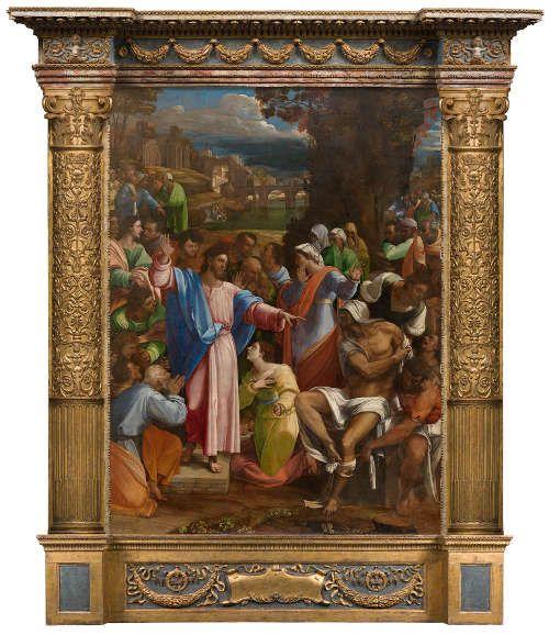 Sebastiano del Piombo, mit Entwürfen von Michelangelo, Die Erweckung des Lazarus, 1517–1519, Öl auf synthetischem Grund, Transfer von Holz, 381 x 289.6 cm, reproduzierter Rahmen, die Predella basiert auf Teilen des originalen Rahmens und antikem Gesims (© The National Gallery, London, NG1)