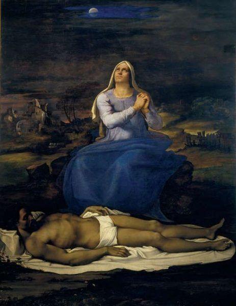 Sebastiano del Piombo, nach teilweisem Entwurf von Michelangelo, Beweinung Christi (Pietà), um 1512–1516, Öl auf Pappel, 248 × 190 cm (Museo Civico, Viterbo © Comune di Viterbo)