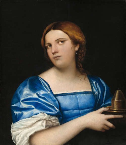Sebastiano del Piombo, Porträt einer jungen Frau als eine Kluge Jungfrau, um 1510, Öl auf Holzplatte, 54.7 x 47.5 cm (77.5 x 69.4 x 7.3 cm gerahmt) (Washington, The National Gallery of Art, Samuel H. Kress Collection, 1952.2.9)