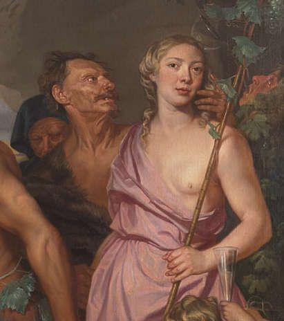 Selbstporträt Michaelina Woutiers in ihrem Bacchanal, vor 1659, Öl/Leinwand, 270 × 354 cm (Kunsthistorisches Museum Wien, Gemäldegalerie, Inv. Nr. Gemäldegalerie, 3548)