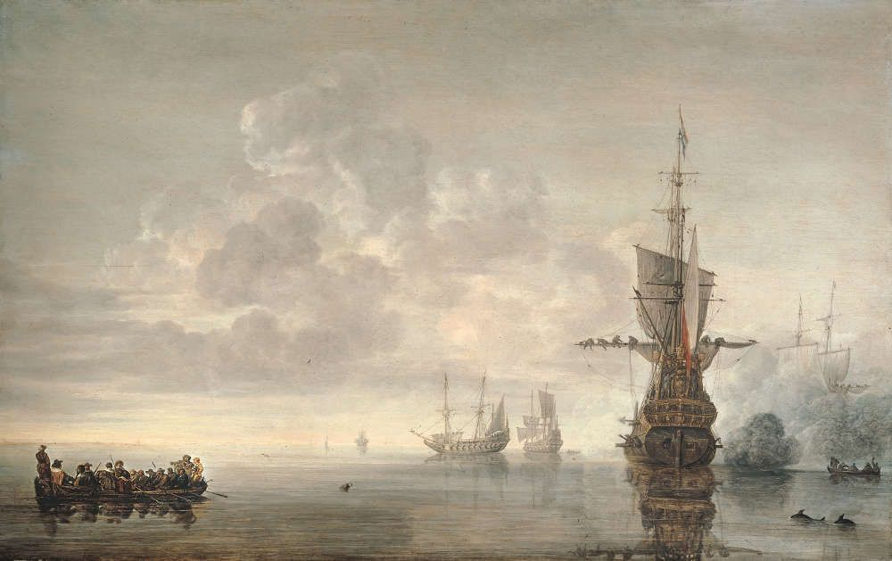 Simon Jacobsz de Vlieger, Das Flaggschiff Aemilia feuert Salut für Admiral Maerten Harpertsz. Tromp, 1640er Jahre (Privatsammlung © Privatsammlung)