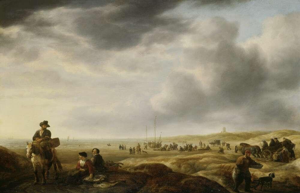 Simon de Vlieger, Strand mit Fischhändlern, um 1643, Öl auf Eichenholz (WRM 1828)