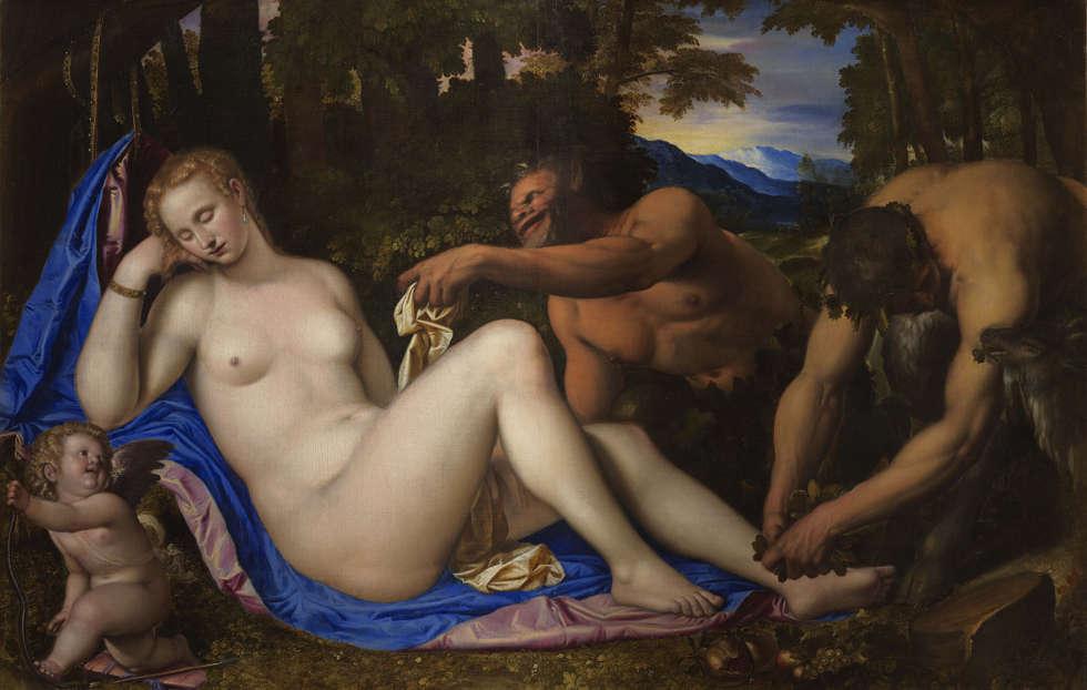 Simone Peterzano, Venus mit zwei Satyrn in einer Landschaft, 1570–1573, Öl/Lw, 135.2 x 206.9 cm (Mailand, Brera)