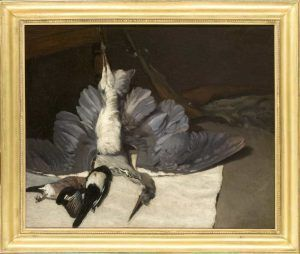 Alfred Sisley, Stillleben mit Reiher und Häher, 1867, Öl auf Leinwand, 80 x 100 cm (Paris, Musée d'Orsay, en dépôt au musée Fabre, Montpellier, don de Mme Pierre Goujon, 1971 © Musée d'Orsay, Dist. RMN-Grand Palais / Patrice Schmidt)