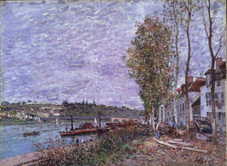Alfred Sisley, Wolkiger Tag in Saint-Mammès, um 1880, 54,8 x 74 cm (Museum of Fine Arts, Boston)