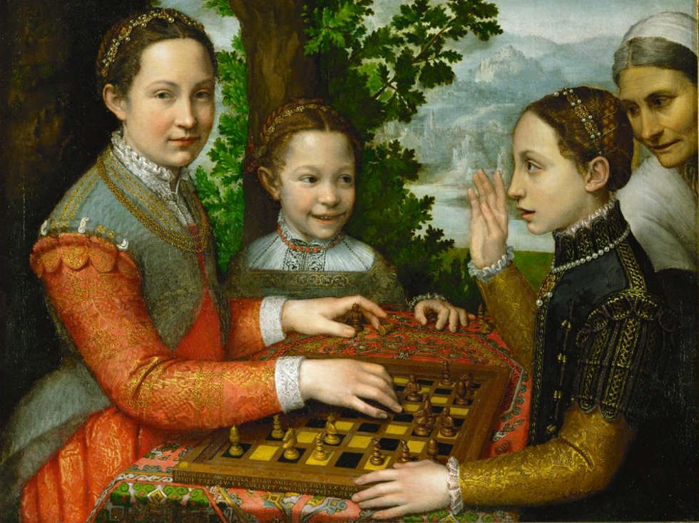Sofonisba Anguissola, Drei Schwestern beim Schachspiel, um 1555 (Poznań, Muzeum Narodowe)