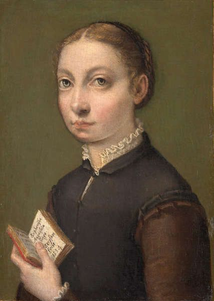Sofonisba Anguissola, Selbstporträt, 1554 datiert, Öl/Pappel, 19,5 x 14,5 x 0,8 cm (Kunsthistorisches Museum, Wien, Inv.-Nr. Gemäldegalerie, 285)