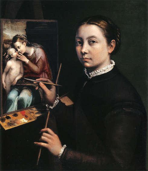 Sofonisba Anguissola, Selbstporträt an der Staffelei, 1556 (Lancut Castle)