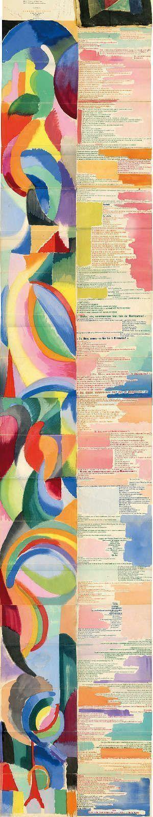 Sonia Delaunay und Blaise Cendrars, Prosa über die Transsibirische Eisenbahn und die kleine Jeanne d'Arc, 1913, Typografie, Aquarell und Schablone auf Papier, 193,5 x 18,5 cm (Privatsammlung © Pracusa 2017633)