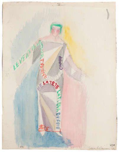 """Sonia Delaunay, Kleid-Gedicht: """"La ventilateur tourne dans le cœur de la tête"""" (Text von Tristan Tzara), 1922, Aquarell auf Papier, 30 x 23,5 cm (Courtesy Galeria Guillermo de Osma, Madrid Pracusa 2017633)"""