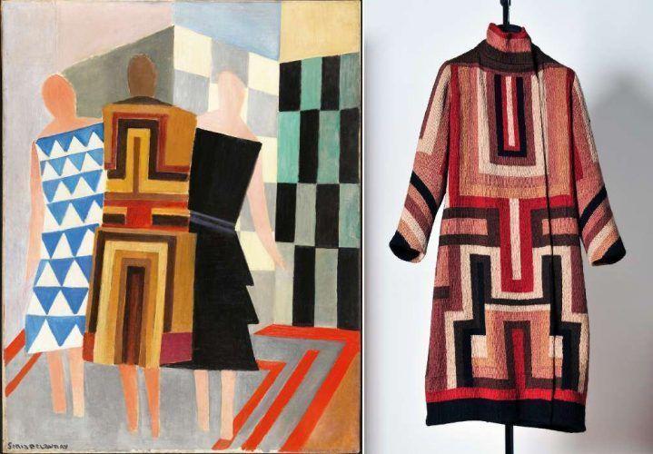 Sonia Delaunay, Simultanistische Kleider (Drei Frauen, Formen, Farben), 1925, Öl auf Leinwand, 146 x 114 cm (Museo Thyssen-Bornemisza, Madrid © Pracusa) und Mantel für Gloria Swanson, um 1925, Baumwolle, Wolle (p0rivatsammlung)