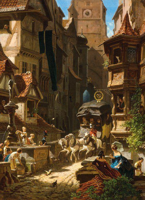 Carl Spitzweg, Ankunft der Postkutsche, um 1859, Öl auf Leinwand, 55,6 x 41,2 cm (Eckhart G. Grohmann Collection, Milwaukee, WI (USA))
