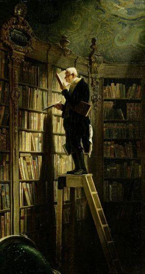 Carl Spitzweg, Der Bücherwurm, 1850, Öl auf Leinwand, 49,4 x 26,9 cm (Museum Georg Schäfer, Schweinfurt)