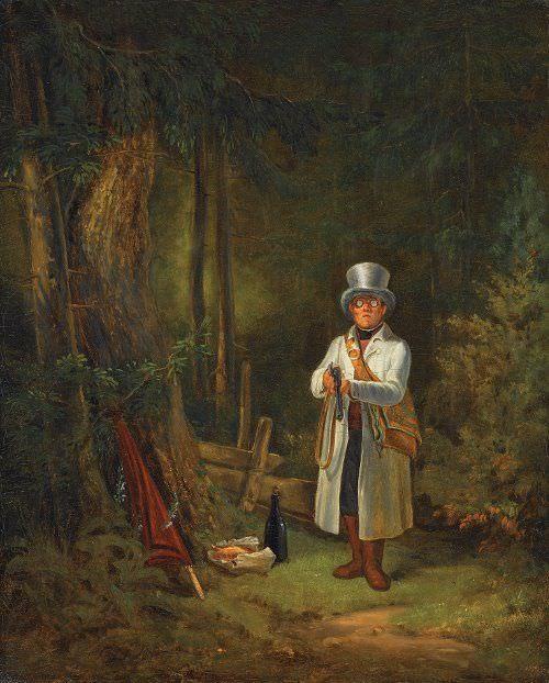 Carl Spitzweg, Der Sonntagsjäger, 1841–1848, Öl auf Leinwand, 40 x 32,5 cm (Staatsgalerie Stuttgart, Inv. 2127)