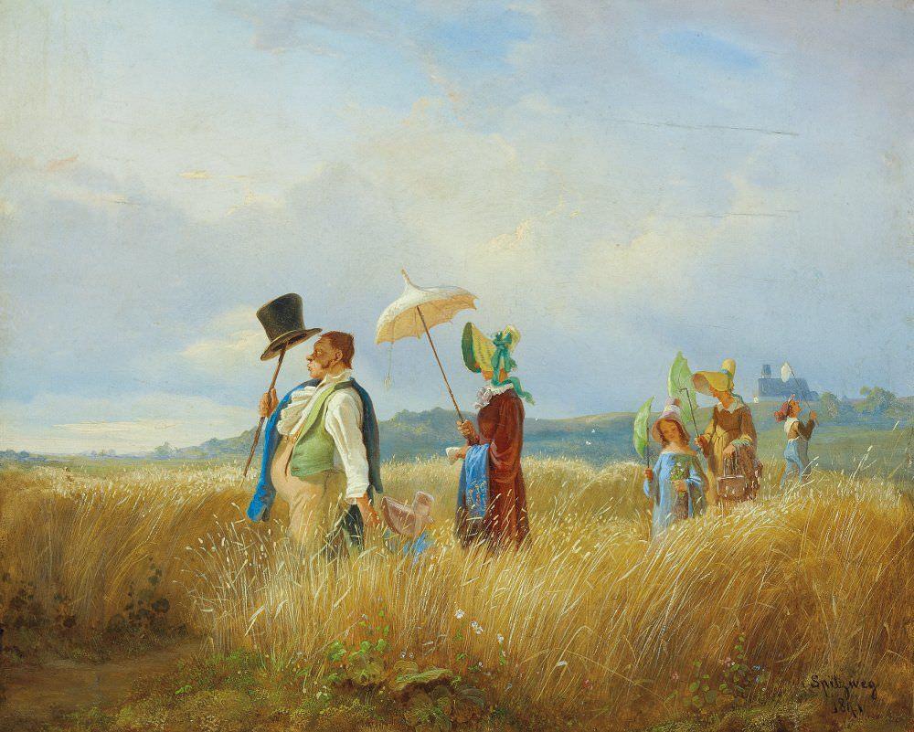 Carl Spitzweg, Der Sonntagsspaziergang, 1841, Öl auf Holz, 28,2 x 34,2 cm (Salzburg Museum)