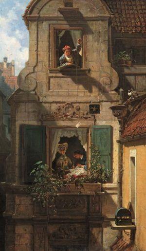 Carl Spitzweg, Der abgefangene Liebesbrief, um 1855, Öl auf Leinwand, 54,2 x 32,3 cm (Museum Georg Schäfer, Schweinfurt)