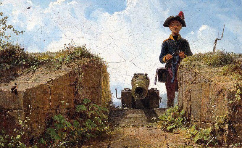 Carl Spitzweg, Der strickende Wachposten, Detail, 1855, Öl auf Leinwand, 21,6 x 39,2 cm (Museum Georg Schäfer, Schweinfurt, Inv. 2286)