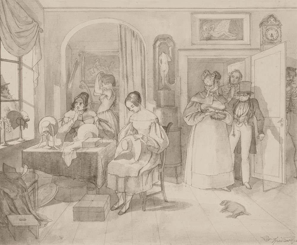 Carl Spitzweg, Putzmachersalon, 1835, Bleistift, Pinsel, Tusche auf Papier, 33,1 x 39,5 cm (Museum Georg Schäfer, Schweinfurt, Inv. MGS 621A)