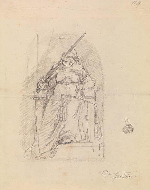 Carl Spitzweg, Justitia mit Waage und Schwert, 1855, Bleistift auf Papier, 21 x 17 cm (Germanisches Nationalmuseum, Nürnberg, Inv. Hz 3409)