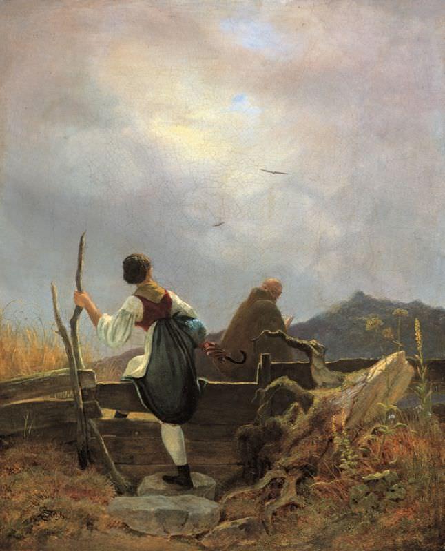 Carl Spitzweg, Sennerin und Mönch, 1838, Öl auf Leinwand, 32,3 x 26,4 cm (Museum Georg Schäfer, Schweinfurt)