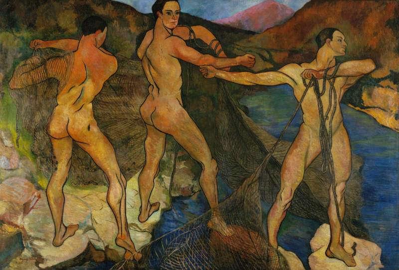 Suzanne Valadon, Das Auswerfen des Netzes, 1914, Öl-Lw, 201 x 301 cm (Centre Pompidou, Paris)
