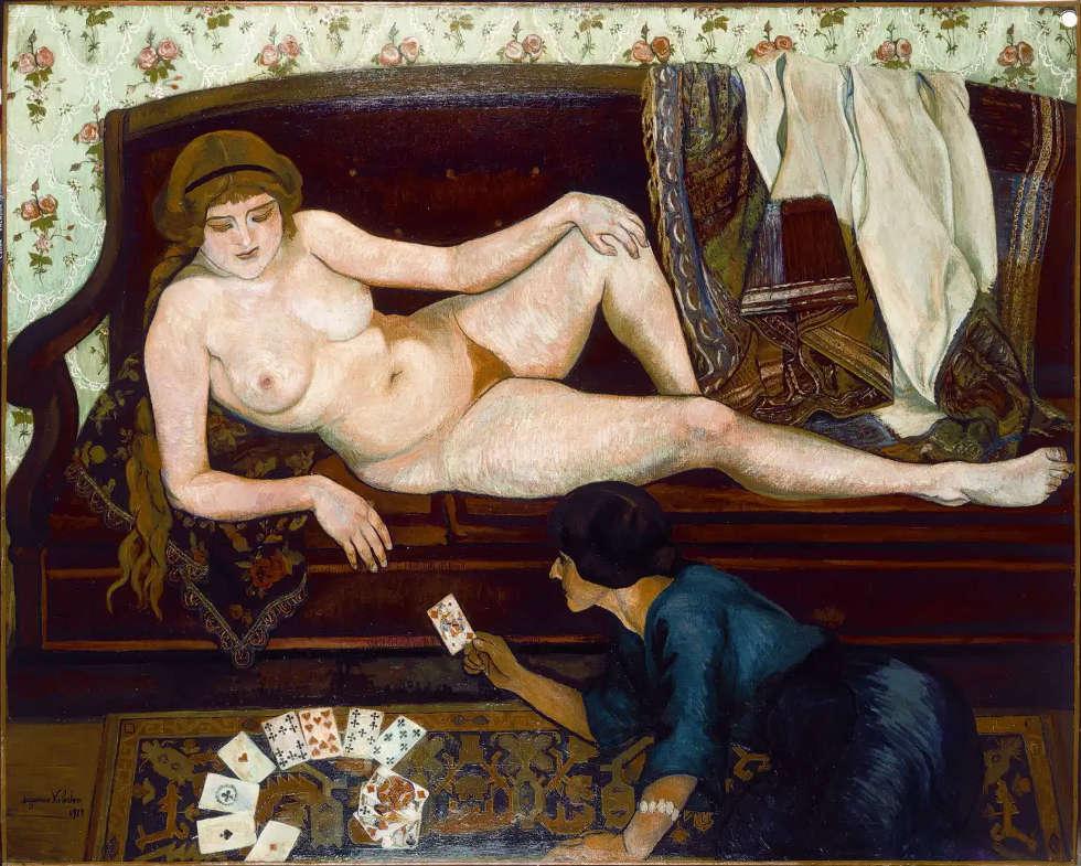 Suzanne Valadon, Die Kartenlegerin, 1912, Öl-Lw, 63 x 130 cm (Musée du Petit-Palais, Genf)