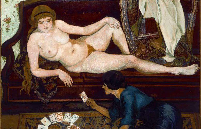 Suzanne Valadon, Die Kartenlegerin, Detail, 1912, Öl-Lw, 63 x 130 cm (Musée du Petit-Palais, Genf)