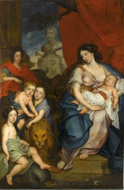 Jerzy Eleuter Szymonowicz-Siemiginowski (Lemberg um 1660 – um 1711 (?)), Porträt der Königin Marie Casimire mit Kindern, um 1684, Öl auf Leinwand, 215,5 × 142 cm (Warschau, Museum Schloss Wilanow)