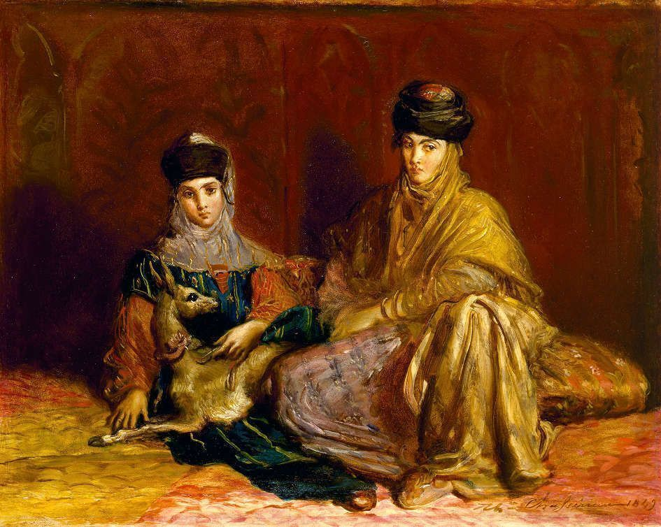 Théodore Chassériau, Frau und Mädchen aus Constantine mit einer Gazelle / Woman and Girl from Constantine with a Gazelle, 1849, Öl auf Holz / Oil on panel, 29.4 × 37.1 cm, The Museum of Fine Arts, Houston, Texas, Museum Purchase funded by the Agnes Cullen Arnold Endowment Fund (74.265) © The Museum of Fine Arts, Houston, Texas / Bridgeman Images.