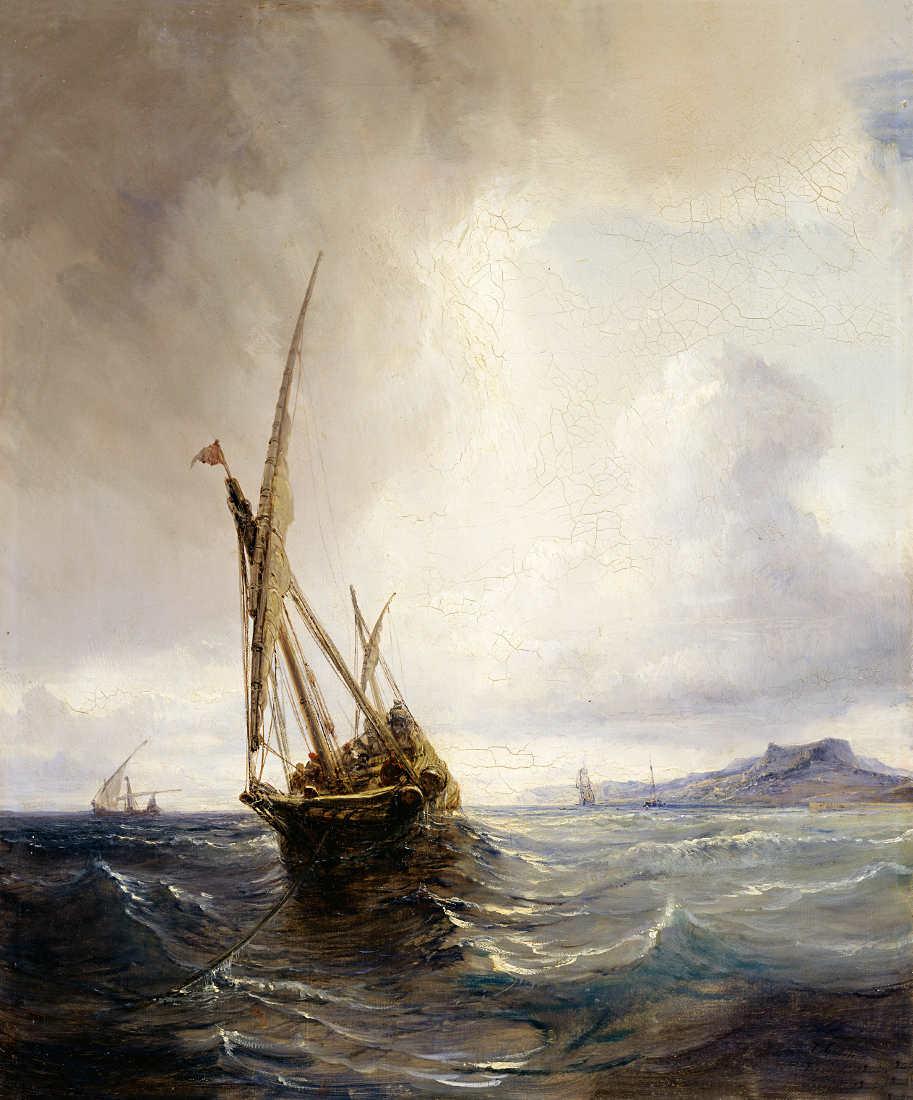 Théodore Gudin, Schleichhändler-Feluke vor der Küste von Biskaya, Öl auf Leinwand, 47,2 x 39,3 cm (© Staatliche Museen zu Berlin, Nationalgalerie / Andres Kilger)