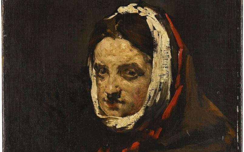 Théodule Ribot, Kopf einer Frau, Detail, um 1870, Öl auf Leinwand, 41 x 32 cm (Staatsgalerie Stuttgart)