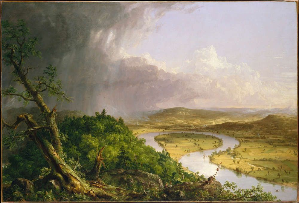 Thomas Cole, View from Mount Holyoke, Northampton, Massachusetts, after a Thunderstorm - The Oxbow, 1836, Öl/Lw, 130.8 x 193 cm (The Metropolitan Museum of Art, New York, Gift of Mrs Russell Sage (08.228) © The Metropolitan Museum of Art, New York)