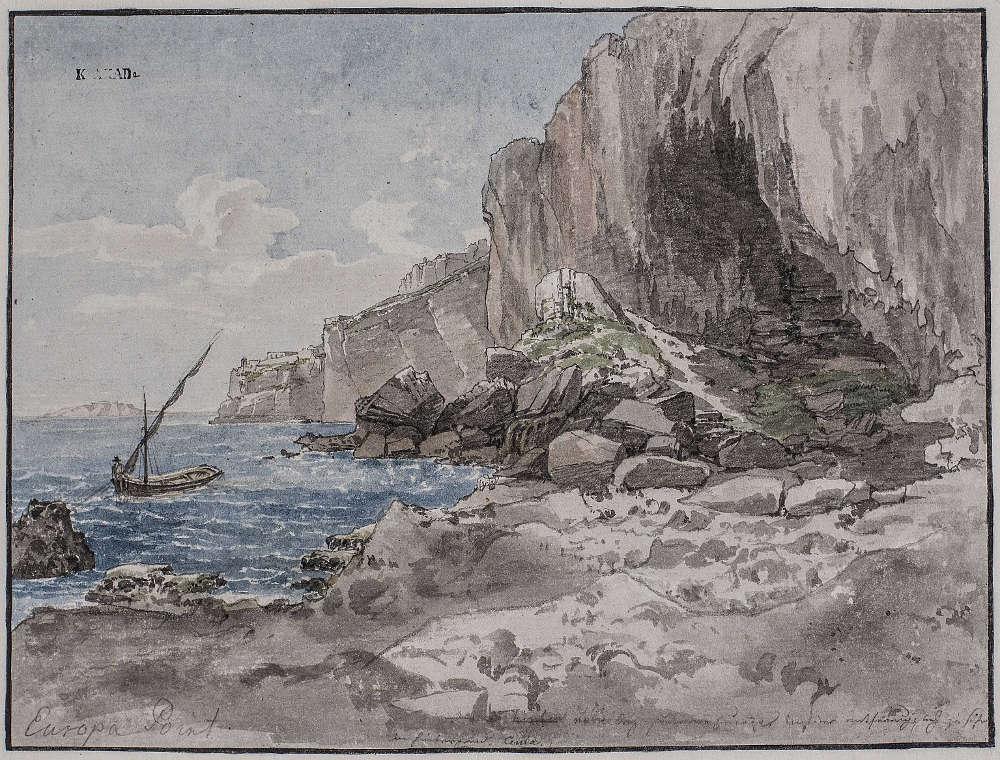 Thomas Ender, Spitze von Europa, 1817, Aquarell, Vorzeichnung mit Bleistift, auf Papier © Kupferstichkabinett der Akademie der bildenden Künste Wien