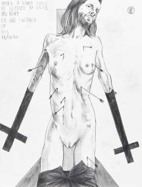 Thomas Palme, No Text, 2014, Grafit auf Papier, 65 × 50 cm (Neue Galerie Graz, Universalmuseum Joanneum, Foto N. Lackner/UMJ)