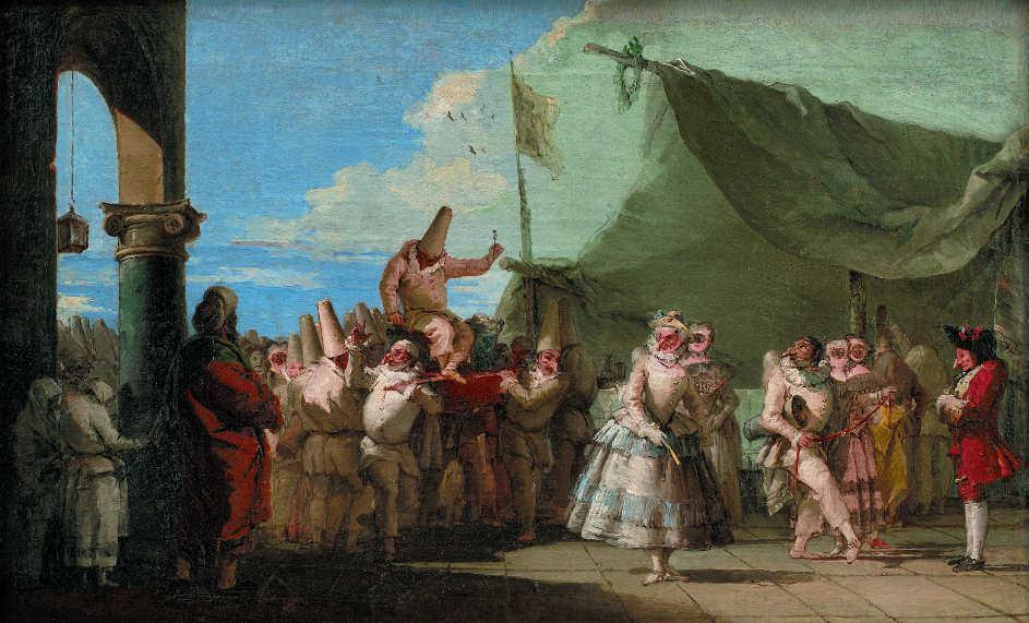 Giandomenico Tiepolo (1727–1804), Karnevalsszene. Pucinellas Triumph (Karnevalscene. Pulcinellas Triumf), 1760–1770, Öl auf Leinwand, 35 x 57,5 cm (Statens Museum for Kunst, Kopenhagen Inv.-Nr. KMS 3830)