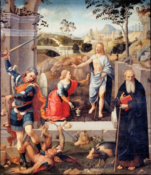 Timoteo Viti, Noli me tangere, Öl/Holz, 235 x 207 cm (Oratorio di Sant'Angelo Minore, Cagli)