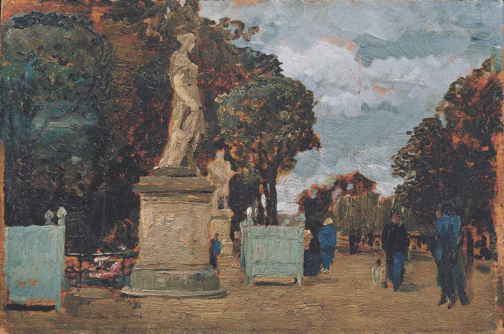 Tina Blau, Aus den Tuilerien – Grauer Tag, 1883, Öl auf Holz, 18 x 27 cm (© Belvedere, Wien)
