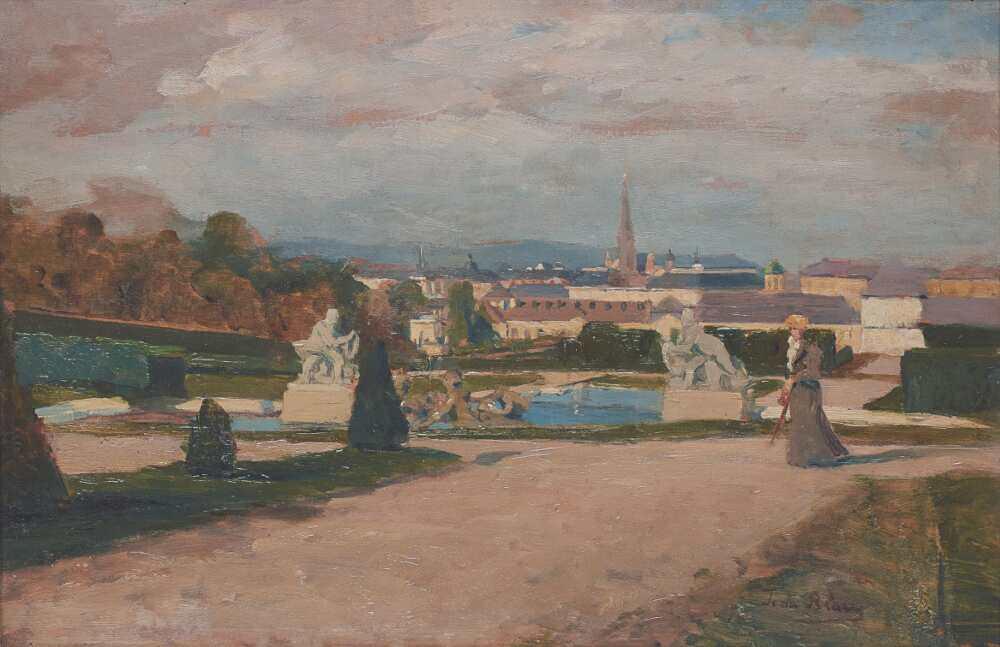 Tina Blau, Blick auf Wien vom Oberen Belvedere, 1894/95, Öl auf Holz, 26 × 39,5 cm (Legat Peter Parzer, Wien)