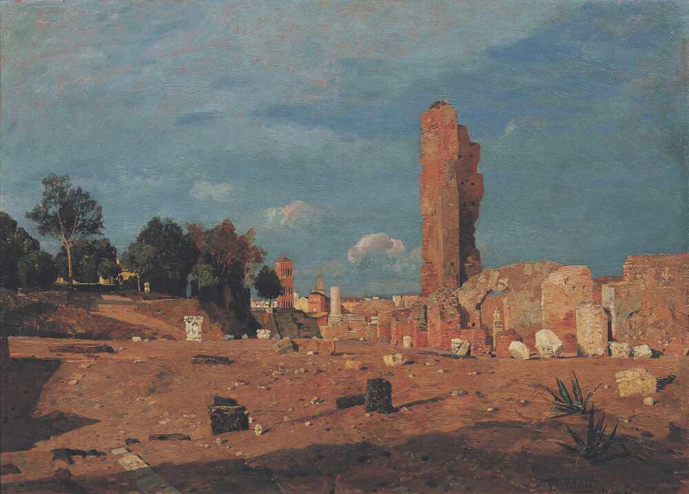 Tina Blau, Ansicht des Palatin in Rom, 1886, Öl auf Holz, 33,3 x 48 cm (© Belvedere, Wien)