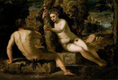 Jacopo Tintoretto, Der Sündenfall, um 1551/52, Öl auf Leinwand, 150 x 220 cm (Gallerie dell'Accademia, Venedig)
