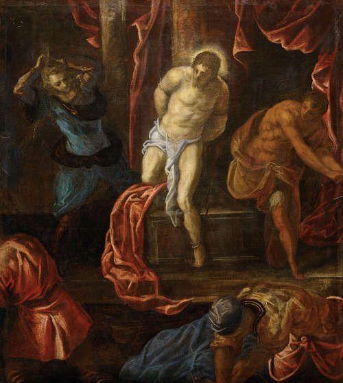 Tintoretto, Die Geißelung Christi, um 1585–1590, Öl auf Leinwand, 118 x 105 cm (Kunsthistorisches Museum, Wien)