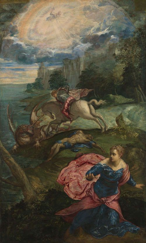 Jacopo Tintoretto, Der Kampf des heiligen Georg mit dem Drachen, um 1553, Öl auf Leinwand, 158,3 x 100,5 cm (National Gallery, London)