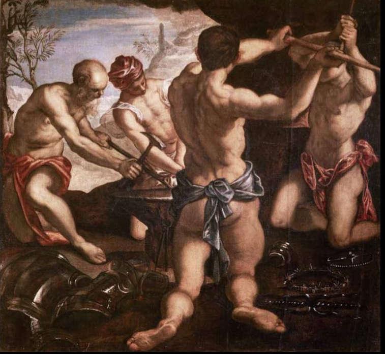 Tintoretto, Schmiede des Vulkan, um 1576/77, Öl/Lw, 145 × 155 cm (Venedig, Fondazione Musei Civici, Palazzo Ducale, Sala dell'Anticollegio)